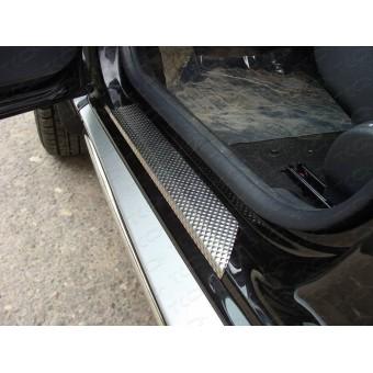 Хромированные накладки для Nissan Terrano на пороги (лист декоративный), полир. нерж. сталь лист декоративный(комплект 2 шт)