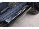 """Хромированные накладки для Nissan Qashqai на пороги с логотипом """"QASHQA"""", полир. нерж. сталь"""