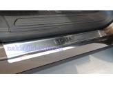 """Хромированные накладки для Volkswagen Touareg на пороги с логотипом """"Touareg"""", полир. нерж. сталь"""