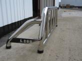 """Защитная дуга """"SEAMAN"""" в кузов пикапа 60 мм с логотипом """"L200"""", полированная нержавеющая сталь"""