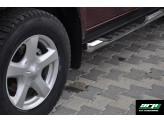 """Трубообразные пороги 76 мм с площадкой """"DRAGOS"""", полир. нерж. сталь (при установки задних кронштейнов требуется сверление днища кузова), изображение 2"""