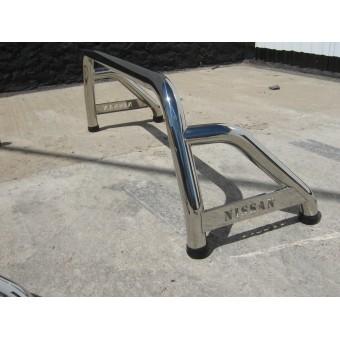 """Защитная дуга 60 мм в кузов с логотипом """"NISSAN"""", полированная нерж. сталь"""