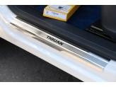 """Хромированные накладки для Volkswagen Tiguan на пороги с логотипом """"Tiguan"""",полир. нерж. сталь"""