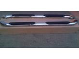 Трубообразные, овальные пороги 105 мм с площадкой  полир. нерж. сталь