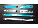 Хромированные накладки для Range Rover Evogue на пороги с логотипом нерж. сталь.