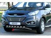 Передняя защита для Hyundai iX 35, с поперечными пластинами, полир. нерж. сталь 40 мм