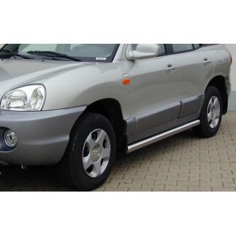 Пороги для Hyundai Santa-Fe, труба 76 мм полир. нерж. сталь (2000-2005)