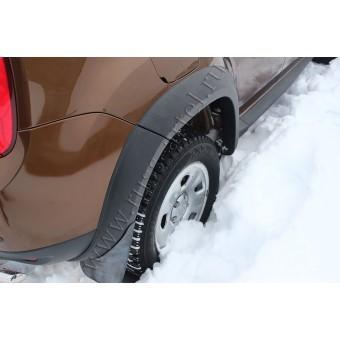 Расширители арок для Renault Duster из 8-ми ч. пластик ABS (уплотнительный профиль, двухсторонний скотч 3М., салфетка (праймер) -4 шт., крепежные элементы)