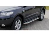 Подножки для Hyundai Santa-Fe с алюминиевой площадкой 60 мм