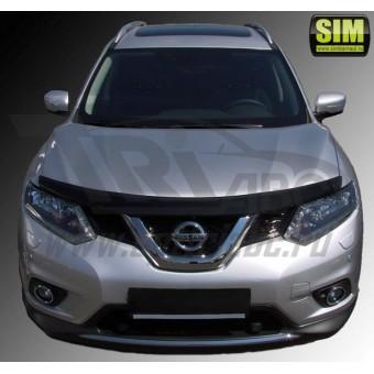Дефлектор капота SIM для Nissan X-Trail T32, темный (акрил)