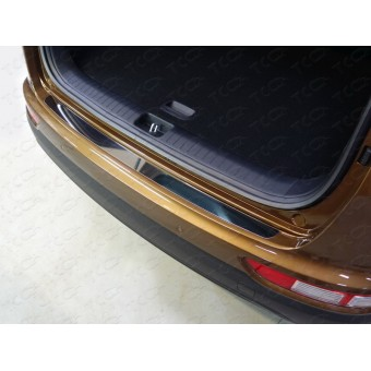 Хромированная накладка для Kia Sportage на задний бампер (лист зеркальный), полир. нерж. сталь