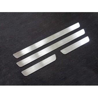Хромированные накладки для Kia Sportage на пороги (лист шлифованный), полир. нерж. сталь