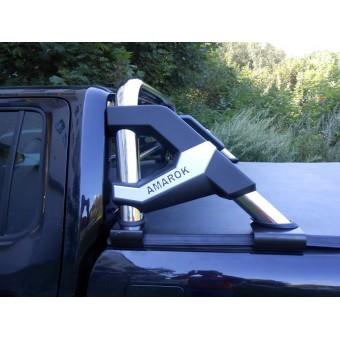 Защитная дуга в кузов пикапа, полир. нерж. сталь + пластик ABS (устанавливается со сверлением на болты)