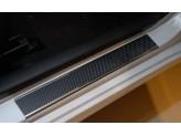 """Накладки на внутренние пороги с надписью, нерж. сталь + карбон, 4 ч. (""""10-/""""14-)"""