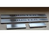 Хромированные накладки для Dacia Duster на пороги с надписью